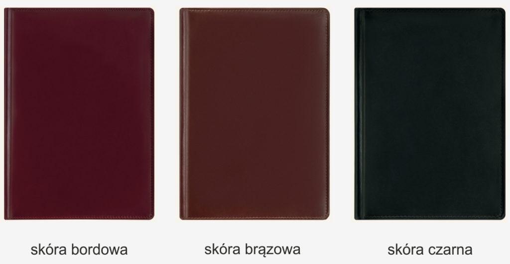 Kalendarze skórzane: skóra bordowa, brązowa i czarna