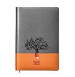 Kalendarz-książkowy-A5-EKO-oprawa-szaro-pomarańczowa