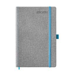 kalendarz książkowy A5, oprawa szara z niebieską gumką